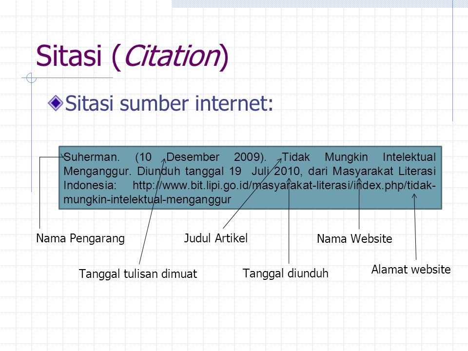 Sitasi (Citation) Sitasi sumber internet: