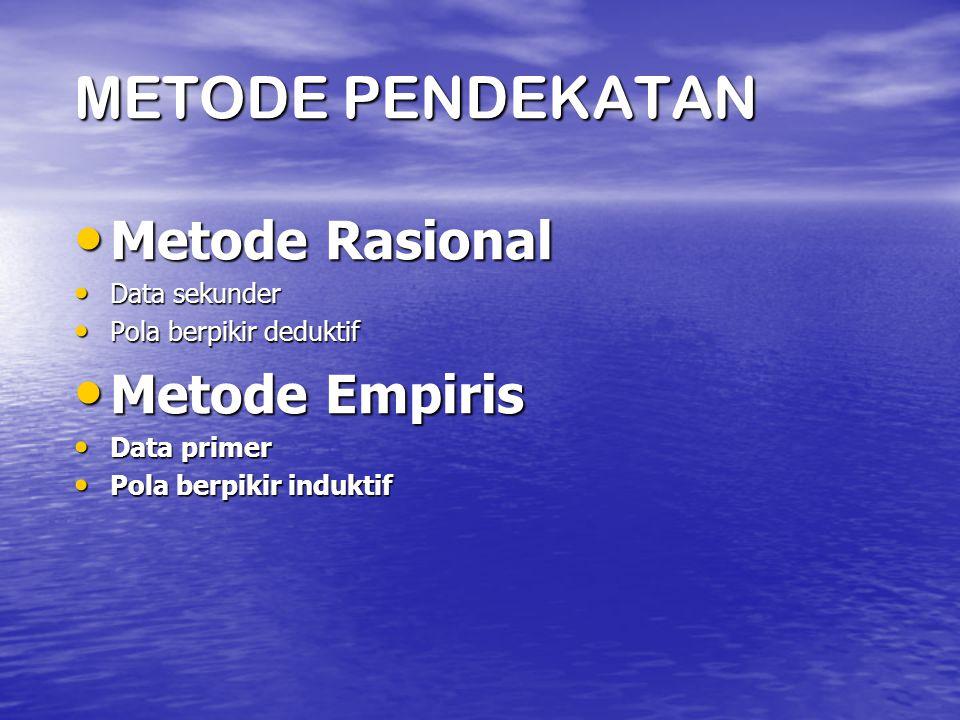 METODE PENDEKATAN Metode Rasional Metode Empiris Data sekunder