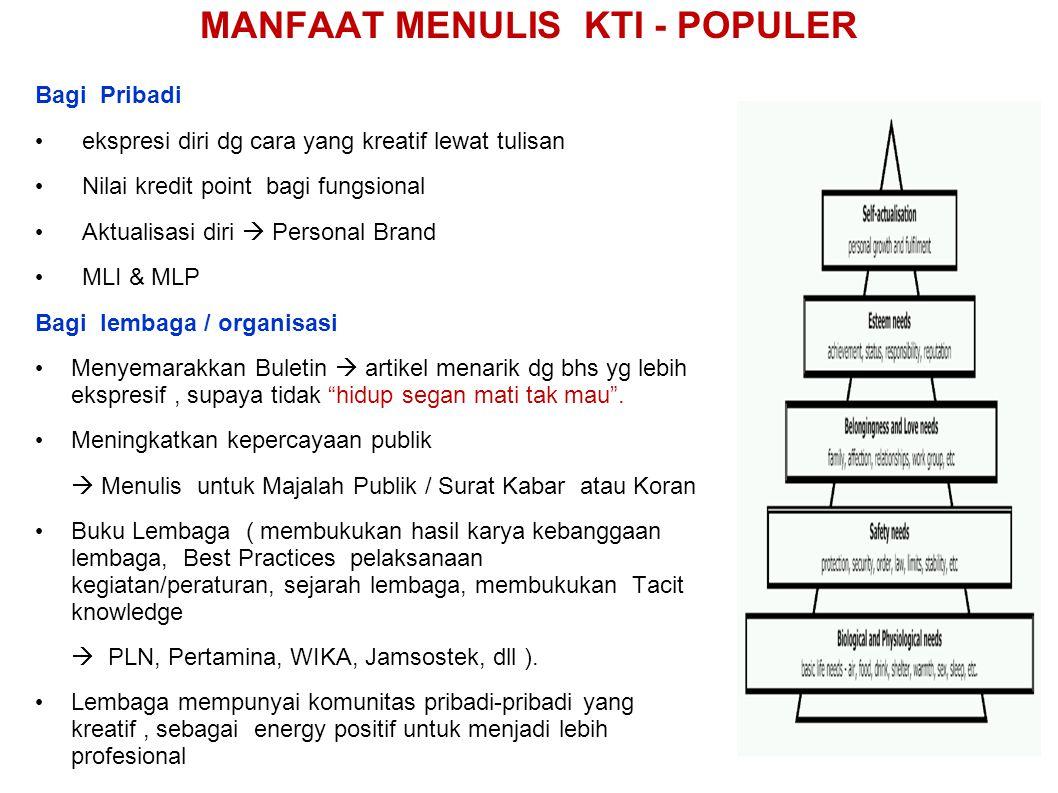 MANFAAT MENULIS KTI - POPULER