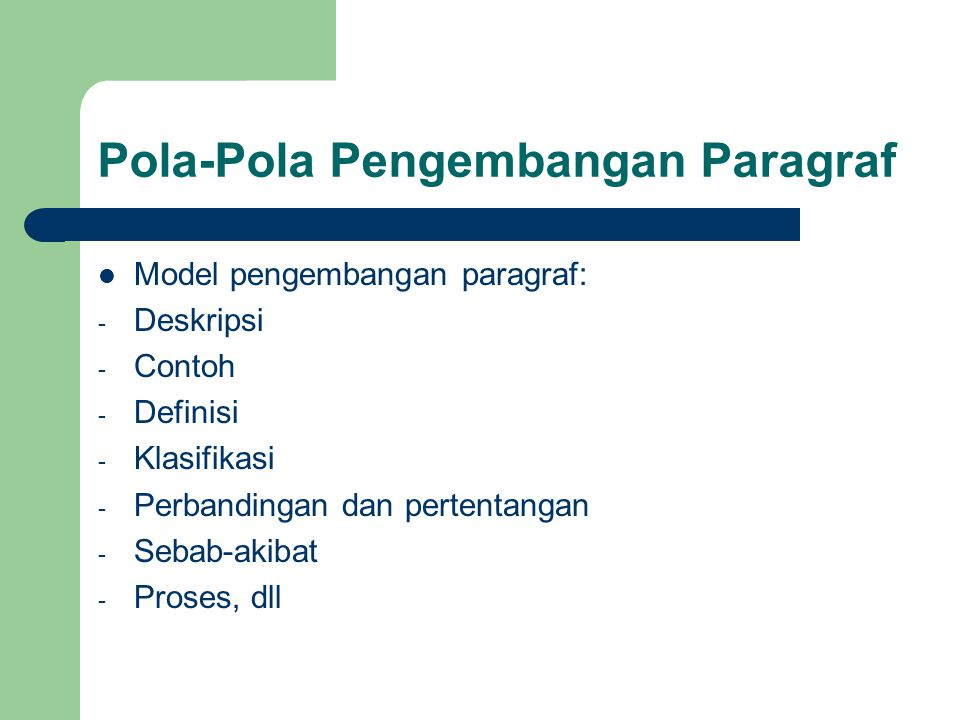 Pola-Pola Pengembangan Paragraf