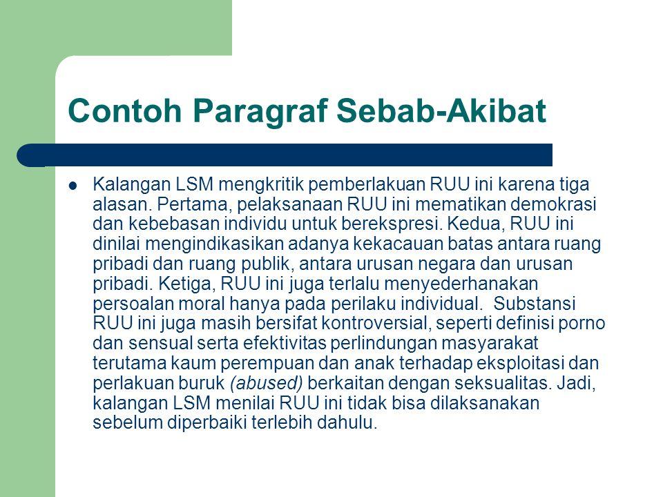 Contoh Paragraf Sebab-Akibat