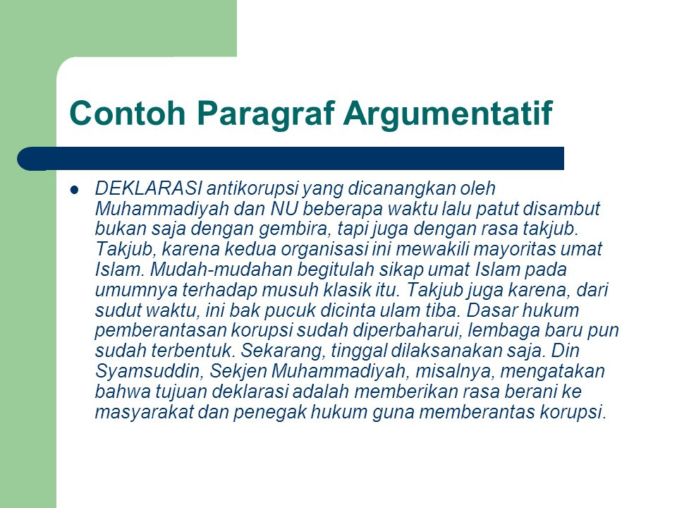 Contoh Paragraf Argumentatif