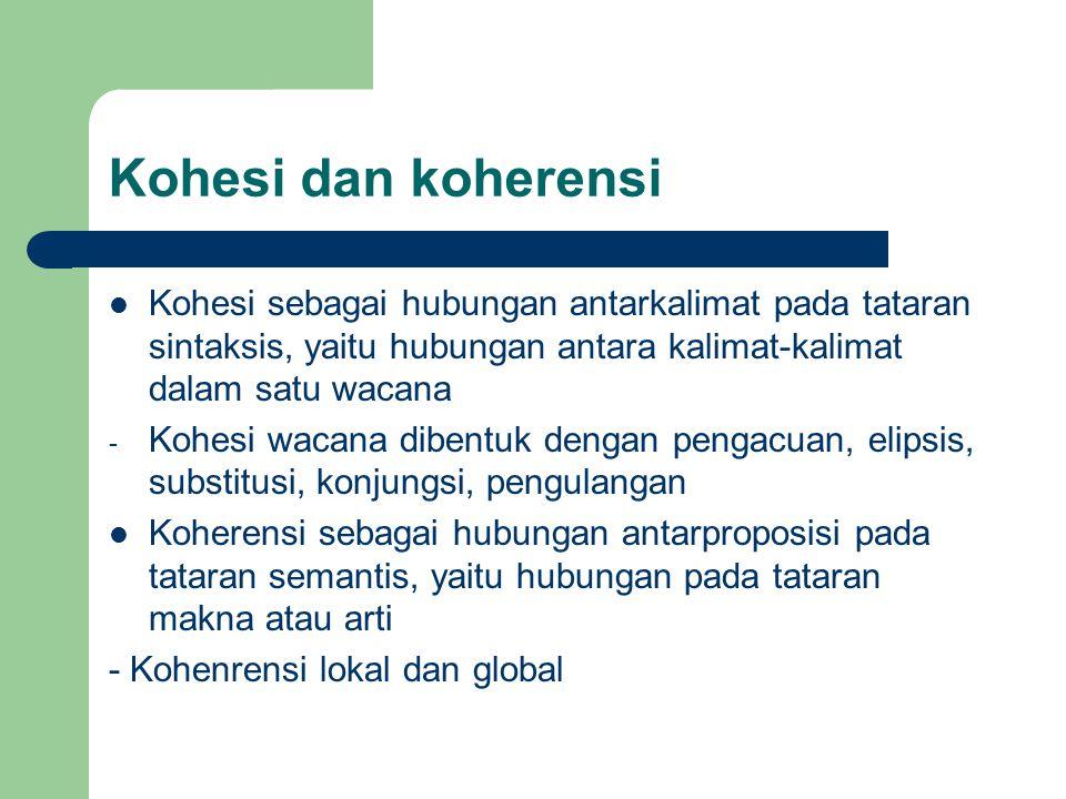 Kohesi dan koherensi Kohesi sebagai hubungan antarkalimat pada tataran sintaksis, yaitu hubungan antara kalimat-kalimat dalam satu wacana.