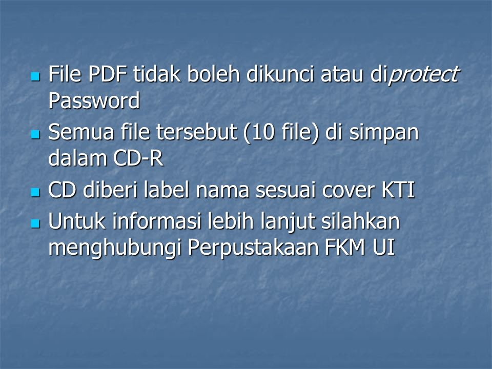 File PDF tidak boleh dikunci atau diprotect Password