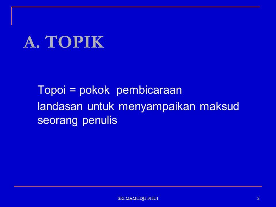 A. TOPIK Topoi = pokok pembicaraan