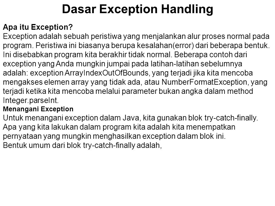 Dasar Exception Handling