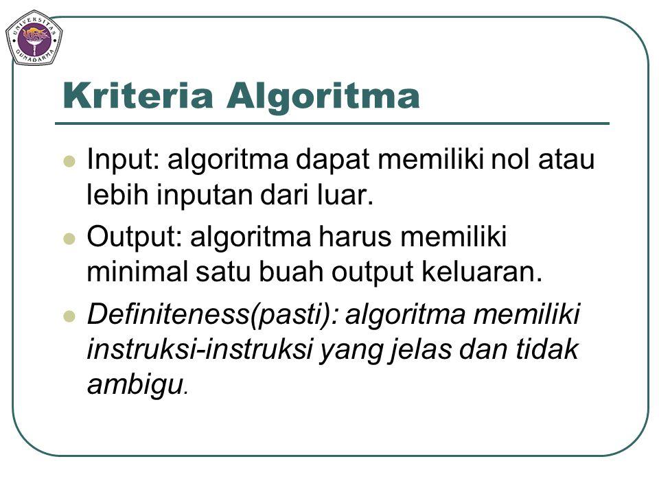 Kriteria Algoritma Input: algoritma dapat memiliki nol atau lebih inputan dari luar.