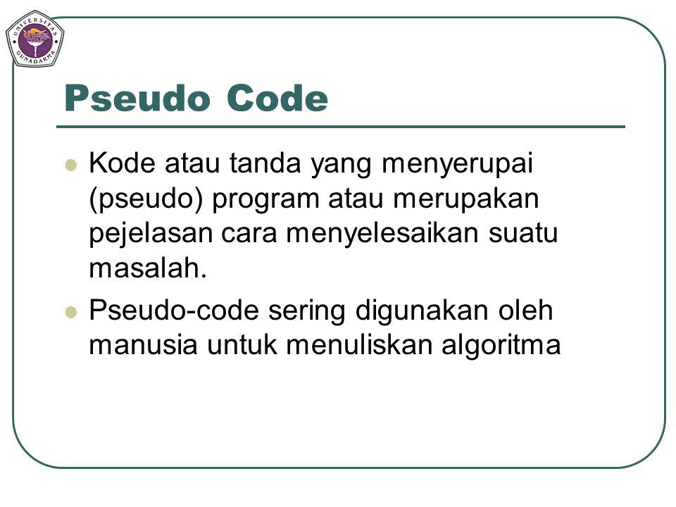 Pseudo Code Kode atau tanda yang menyerupai (pseudo) program atau merupakan pejelasan cara menyelesaikan suatu masalah.