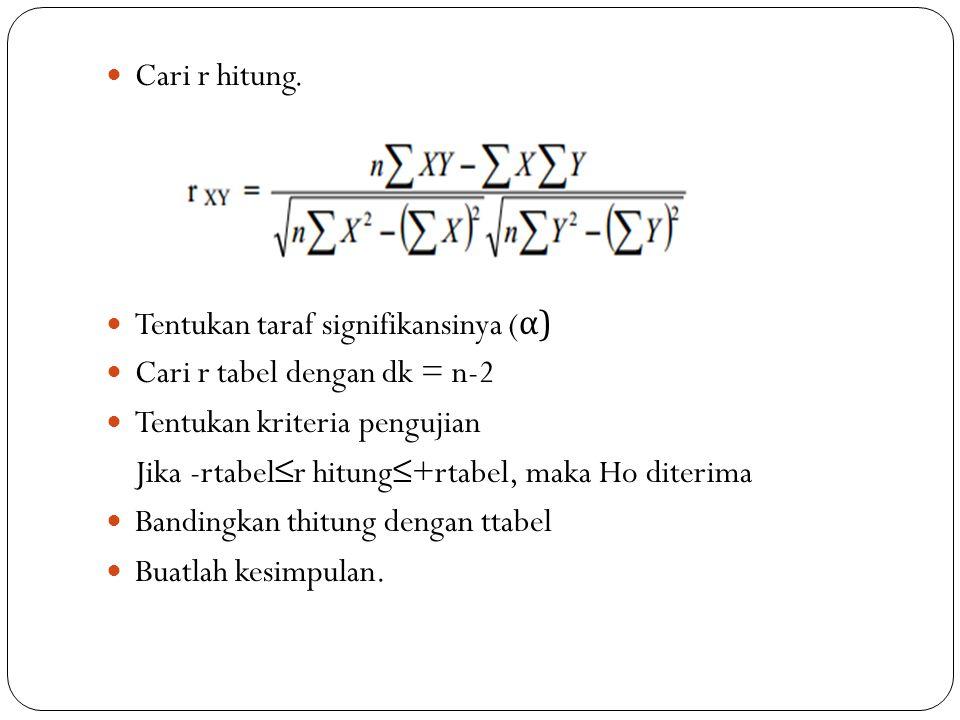 Cari r hitung. Tentukan taraf signifikansinya (α) Cari r tabel dengan dk = n-2. Tentukan kriteria pengujian.