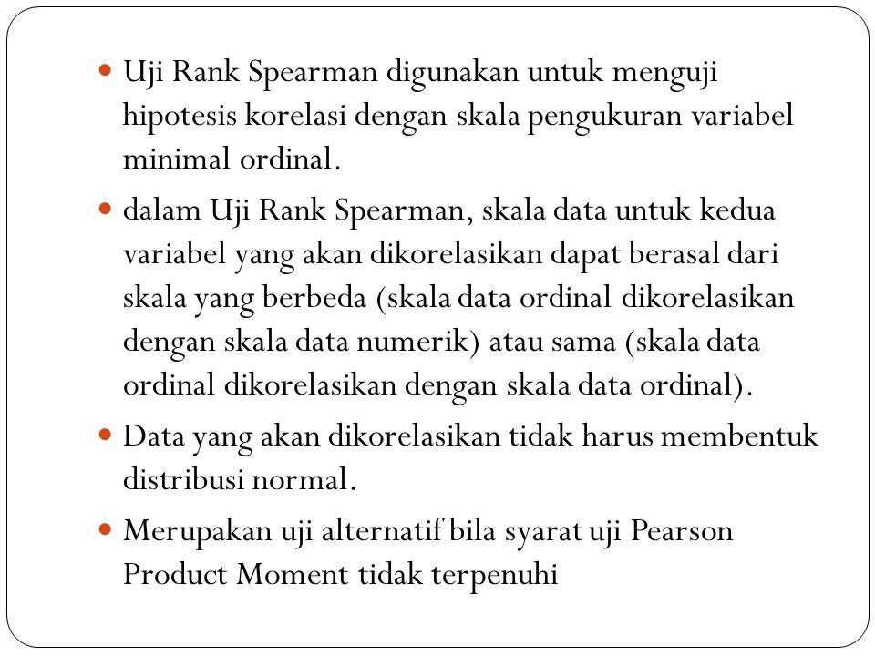 Uji Rank Spearman digunakan untuk menguji hipotesis korelasi dengan skala pengukuran variabel minimal ordinal.