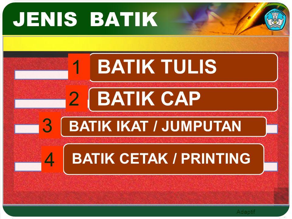 JENIS BATIK BATIK TULIS BATIK CAP 1 2 3 4 BATIK IKAT / JUMPUTAN
