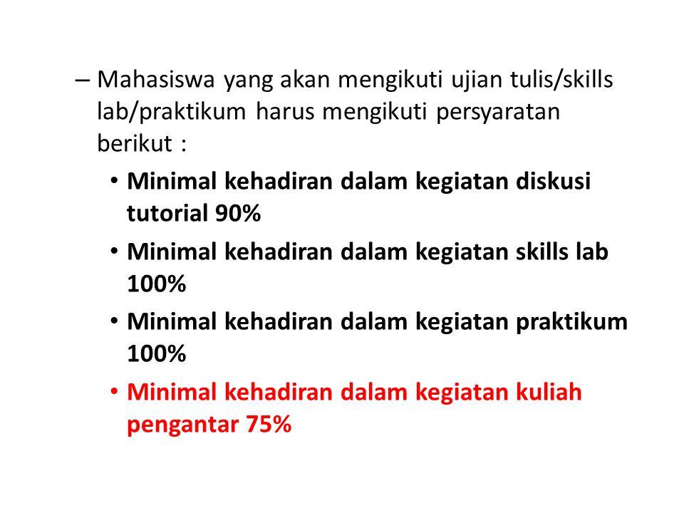 Mahasiswa yang akan mengikuti ujian tulis/skills lab/praktikum harus mengikuti persyaratan berikut :