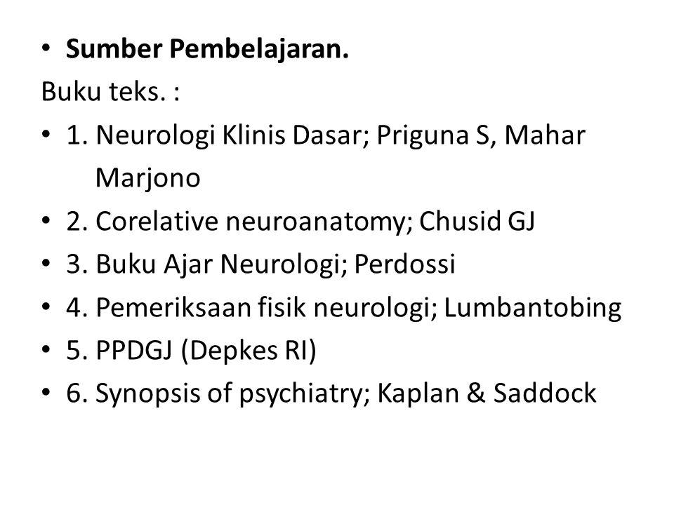 Sumber Pembelajaran. Buku teks. : 1. Neurologi Klinis Dasar; Priguna S, Mahar. Marjono. 2. Corelative neuroanatomy; Chusid GJ.