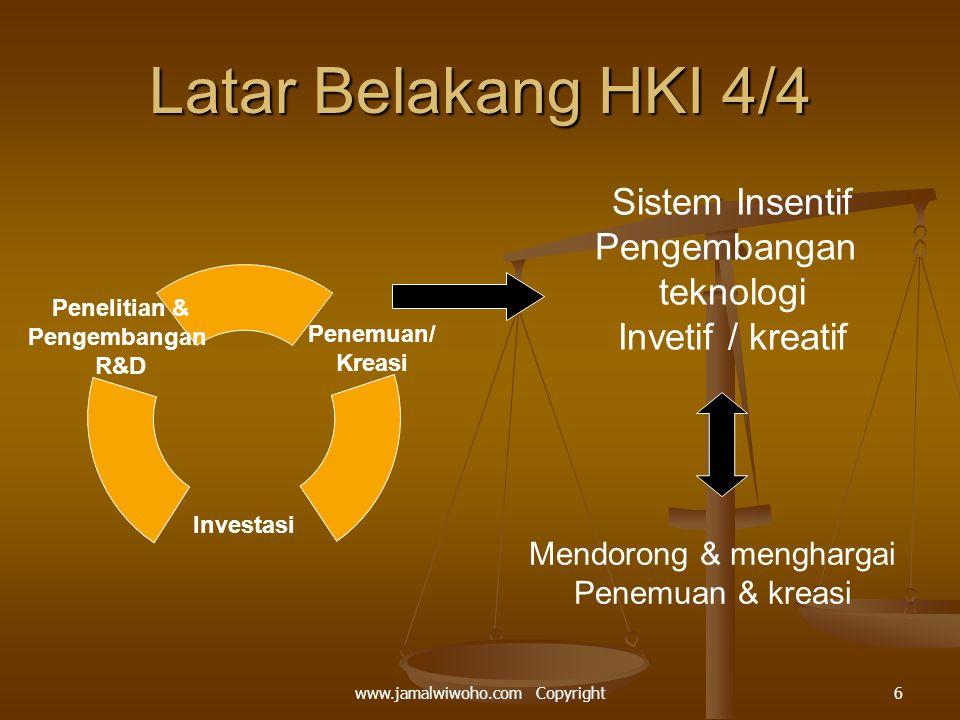 Latar Belakang HKI 4/4 Sistem Insentif Pengembangan teknologi