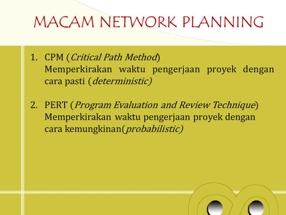 MACAM NETWORK PLANNING