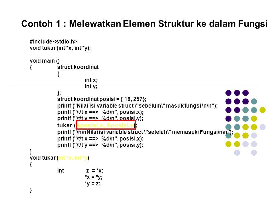 Contoh 1 : Melewatkan Elemen Struktur ke dalam Fungsi