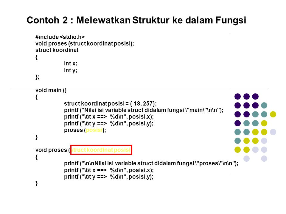 Contoh 2 : Melewatkan Struktur ke dalam Fungsi