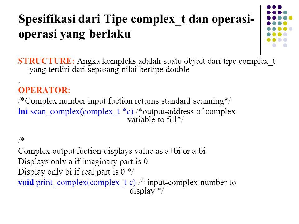 Spesifikasi dari Tipe complex_t dan operasi-operasi yang berlaku