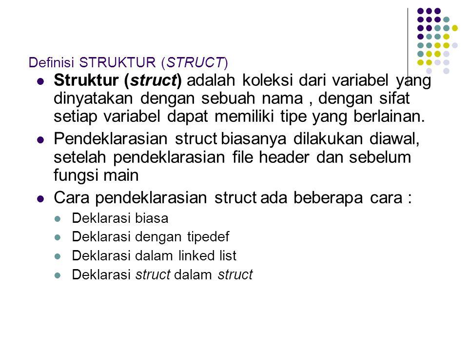Definisi STRUKTUR (STRUCT)
