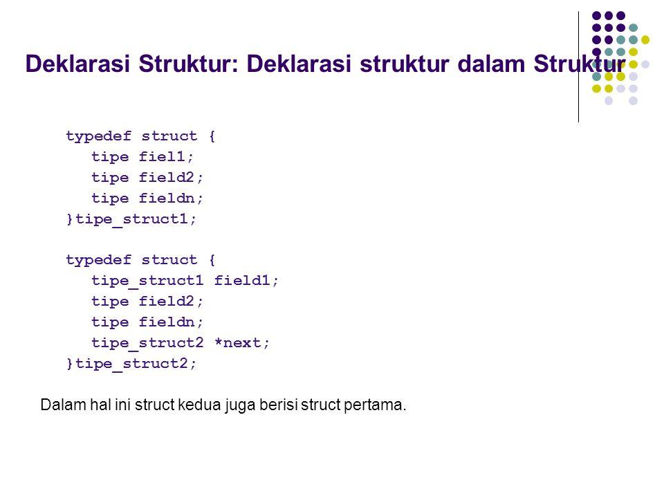 Deklarasi Struktur: Deklarasi struktur dalam Struktur