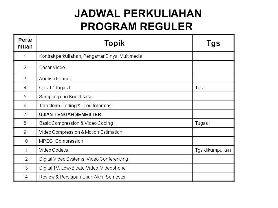 JADWAL PERKULIAHAN PROGRAM REGULER