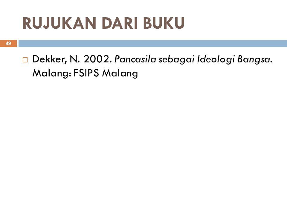RUJUKAN DARI BUKU Dekker, N. 2002. Pancasila sebagai Ideologi Bangsa. Malang: FSIPS Malang