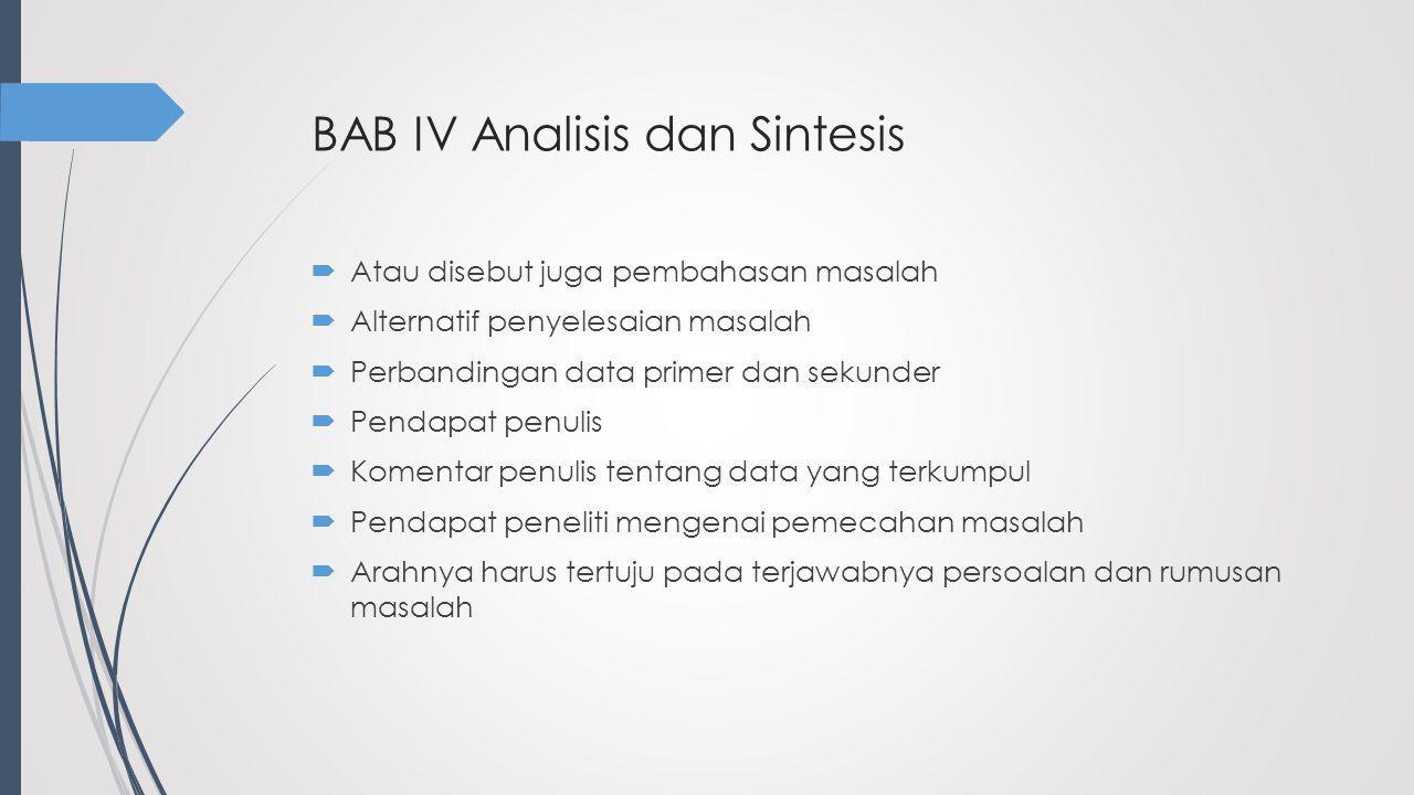 BAB IV Analisis dan Sintesis