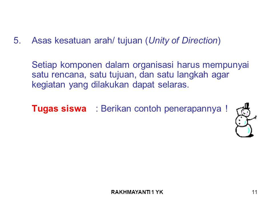 5. Asas kesatuan arah/ tujuan (Unity of Direction)