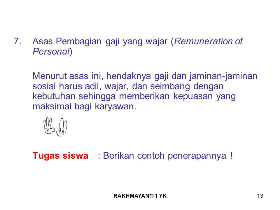 Asas Pembagian gaji yang wajar (Remuneration of Personal)
