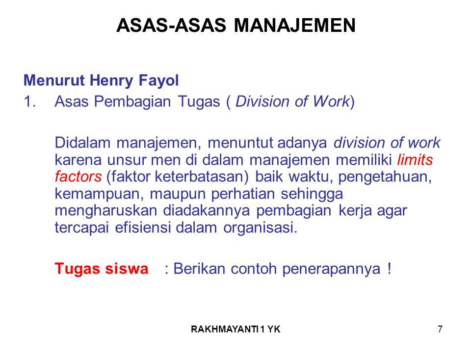 ASAS-ASAS MANAJEMEN Menurut Henry Fayol