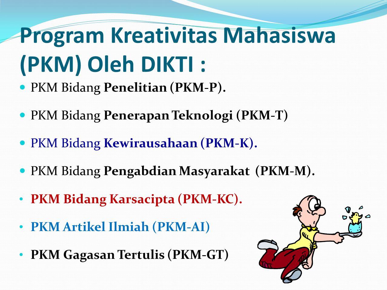 Program Kreativitas Mahasiswa (PKM) Oleh DIKTI :