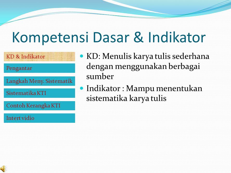 Kompetensi Dasar & Indikator