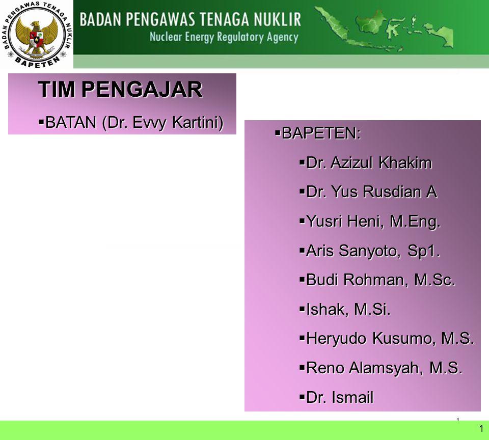 TIM PENGAJAR BATAN (Dr. Evvy Kartini) BAPETEN: Dr. Azizul Khakim