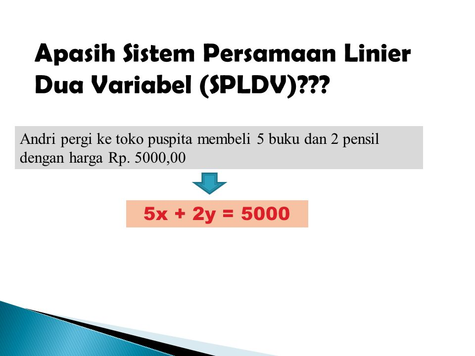 Apasih Sistem Persamaan Linier Dua Variabel (SPLDV)