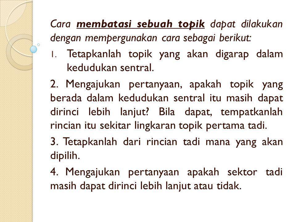 Cara membatasi sebuah topik dapat dilakukan dengan mempergunakan cara sebagai berikut: