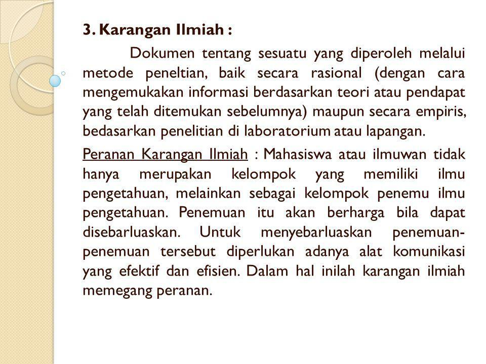 3. Karangan Ilmiah :
