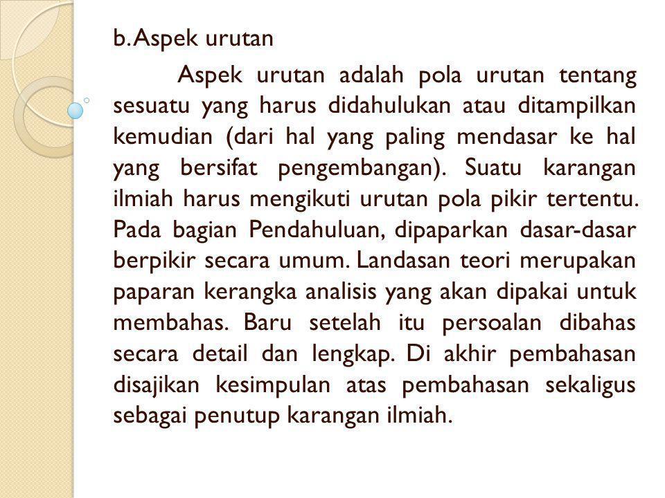 b. Aspek urutan