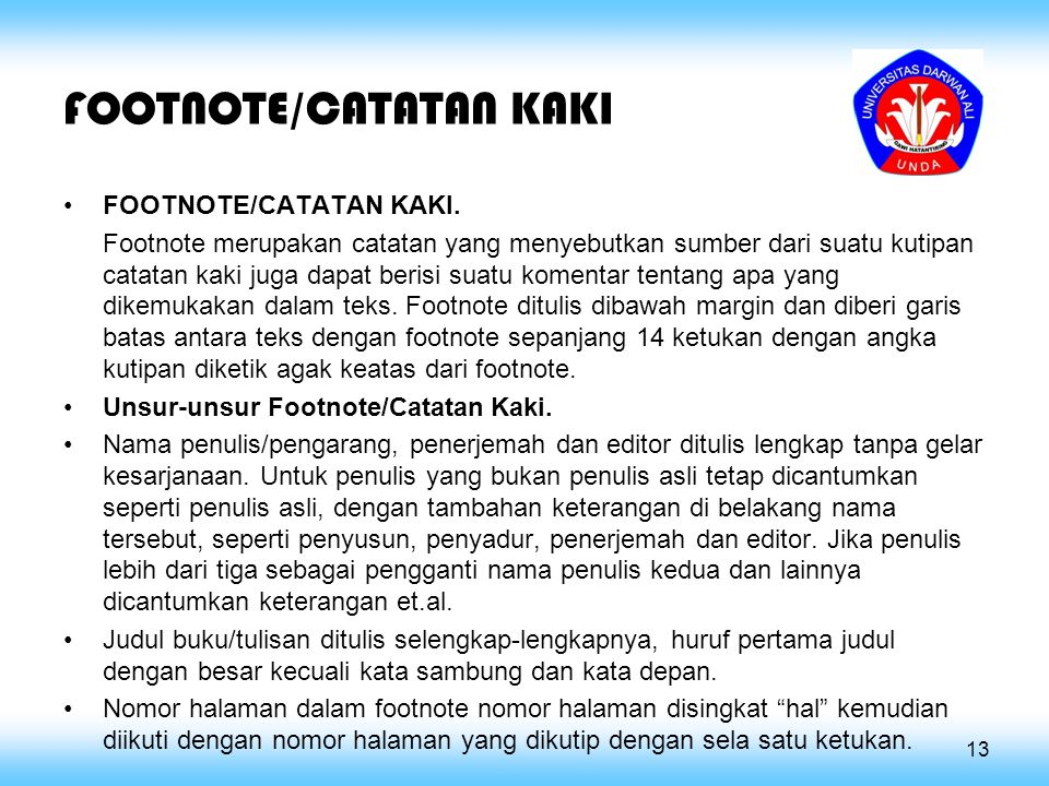 FOOTNOTE/CATATAN KAKI
