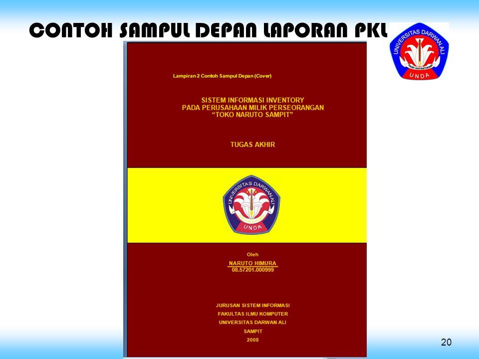 CONTOH SAMPUL DEPAN LAPORAN PKL