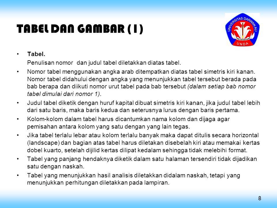 TABEL DAN GAMBAR (1) Tabel.