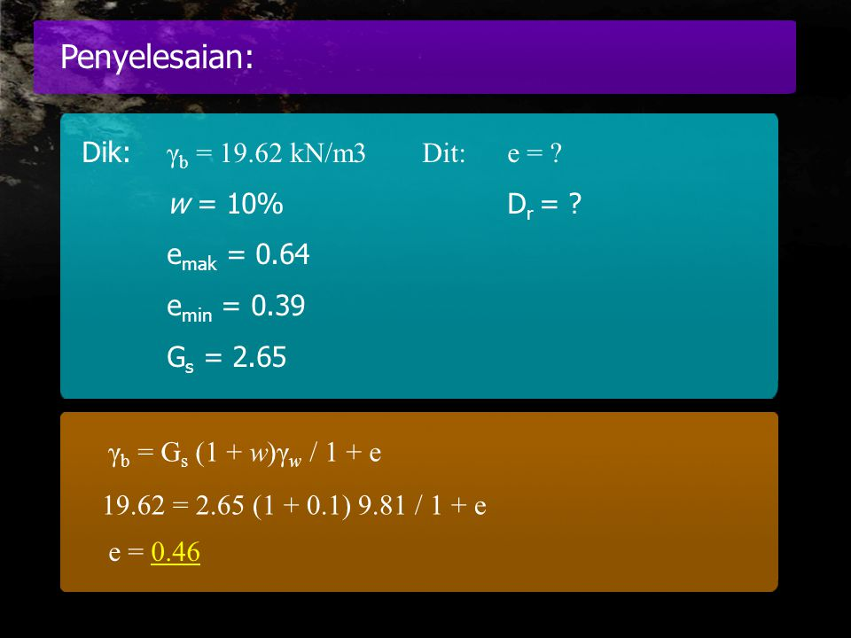 Penyelesaian: Dik: γb = 19.62 kN/m3 Dit: e = w = 10% Dr =