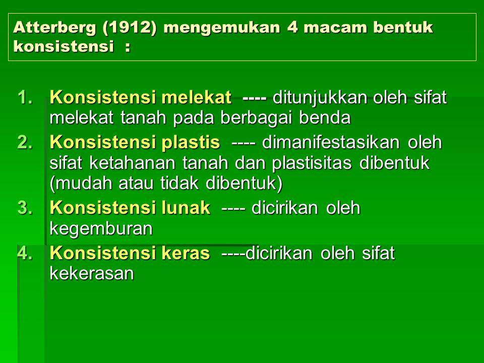 Atterberg (1912) mengemukan 4 macam bentuk konsistensi :