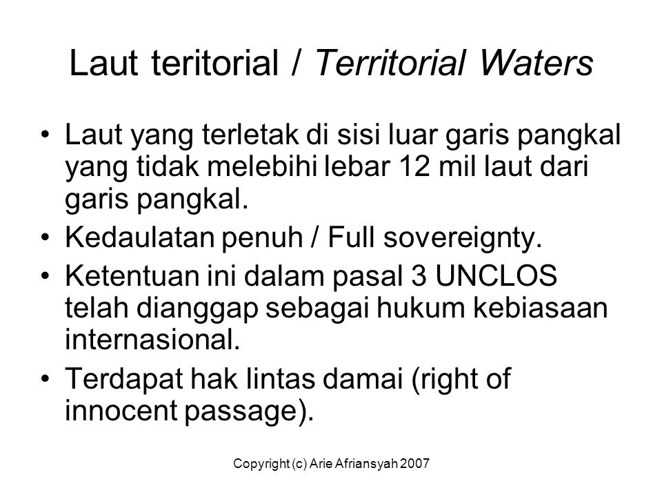 Laut teritorial / Territorial Waters