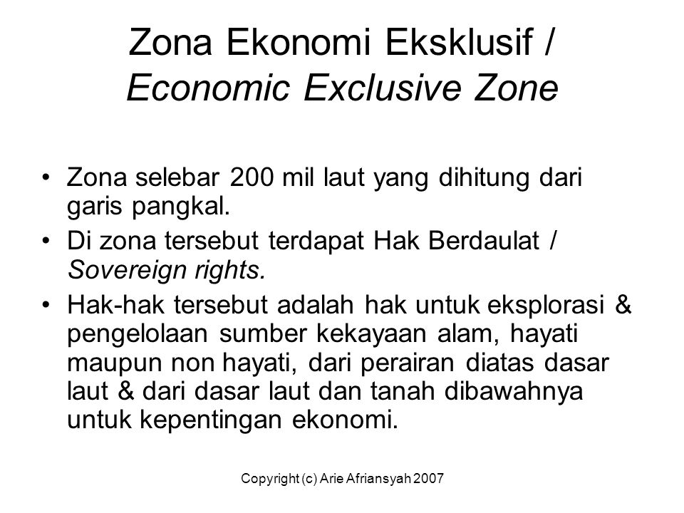 Zona Ekonomi Eksklusif / Economic Exclusive Zone