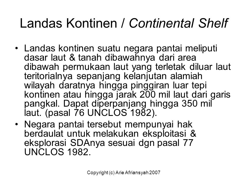 Landas Kontinen / Continental Shelf