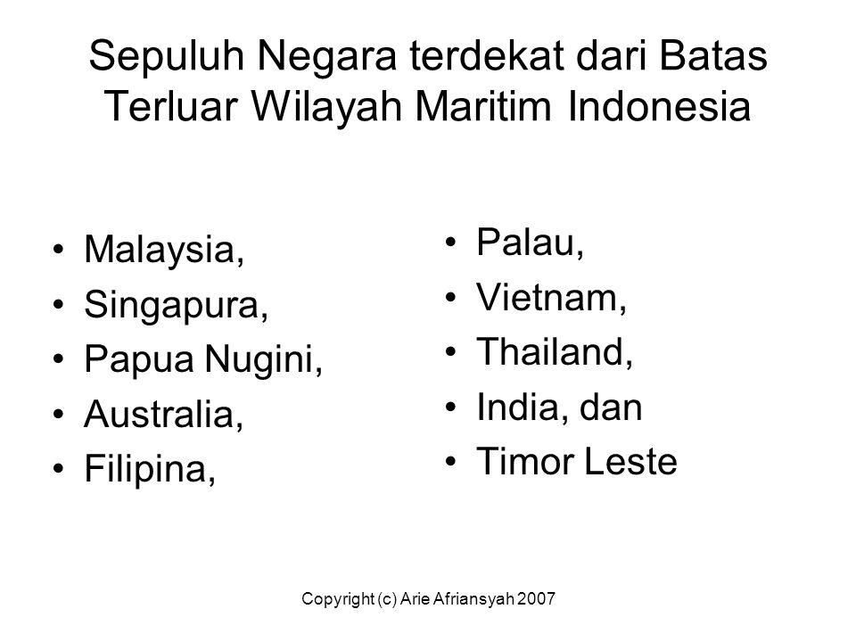Sepuluh Negara terdekat dari Batas Terluar Wilayah Maritim Indonesia