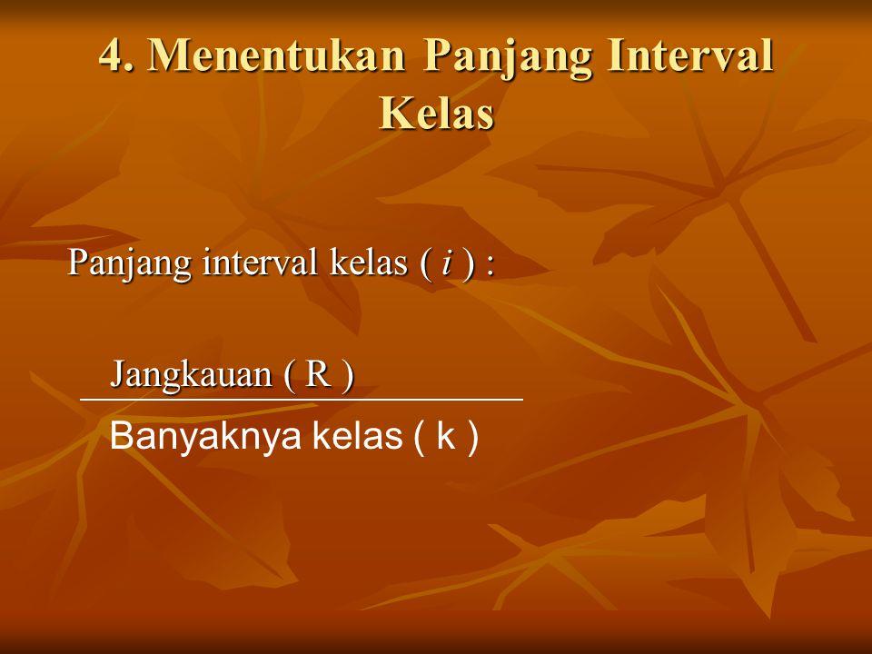 4. Menentukan Panjang Interval Kelas