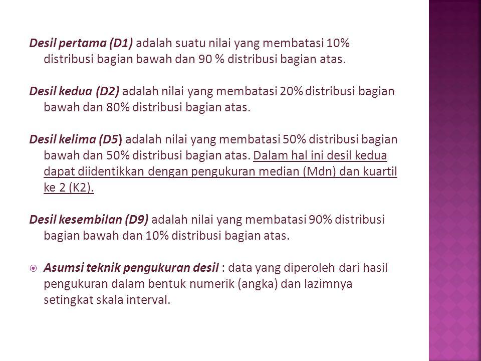 Desil pertama (D1) adalah suatu nilai yang membatasi 10% distribusi bagian bawah dan 90 % distribusi bagian atas.