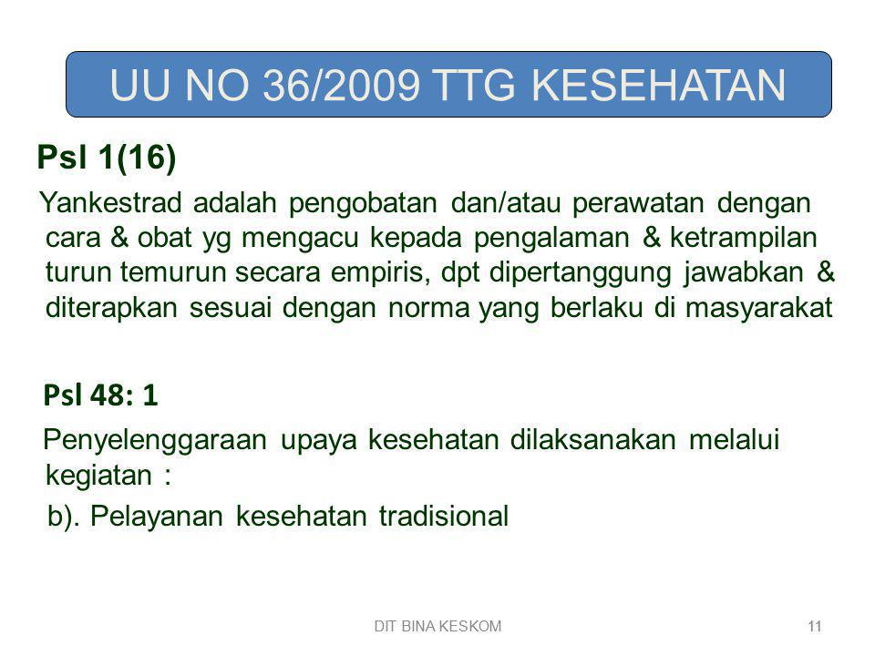 UU NO 36/2009 TTG KESEHATAN