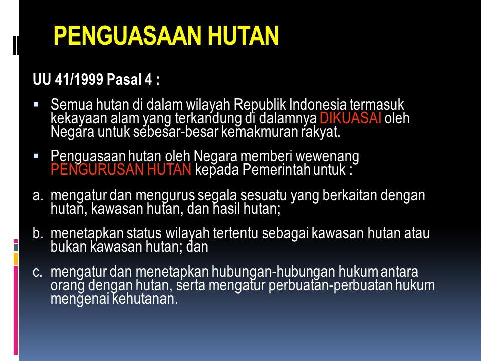 PENGUASAAN HUTAN UU 41/1999 Pasal 4 :
